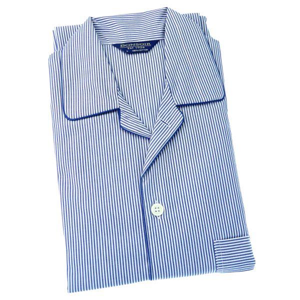 Mens Cotton Pyjamas - Navy Bengal Stripe - Bonsoir of London