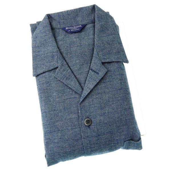 Mens Brushed Cotton Pyjamas - Bude - Bonsoir of London