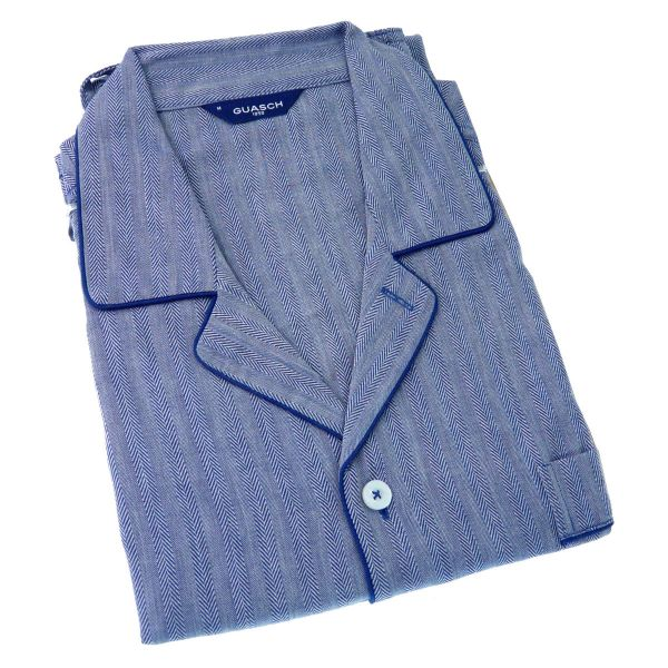 Guasch - Mens Cotton Pyjamas in Navy Herringbone Design