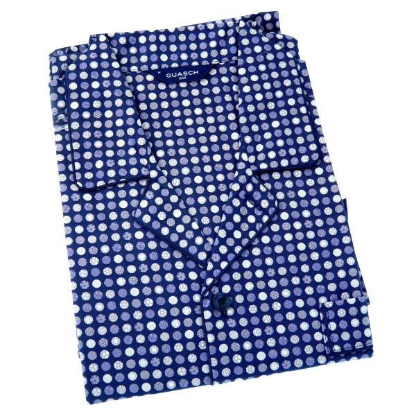 Guasch - Mens Cotton Pyjamas in Navy with Circles Design