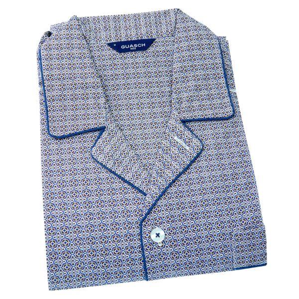 Guasch - Mens Cotton Pyjamas in Brown Retro Design