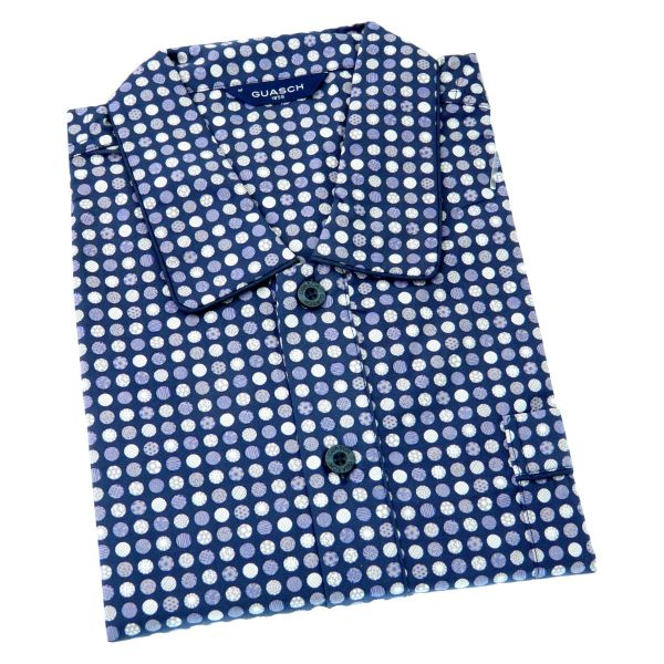 Guasch - Mens Cotton Nightshirt in Navy with Circles Design