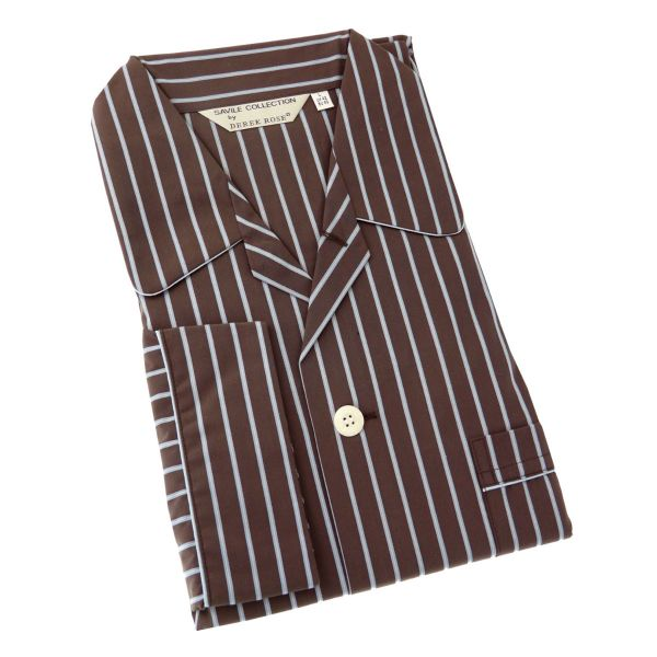 Derek Rose Warm Brown Stripe Cotton Pyjamas with Elastic Waist