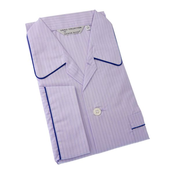 Derek Rose Lilac Stripe Cotton Pyjamas with Elastic Waist