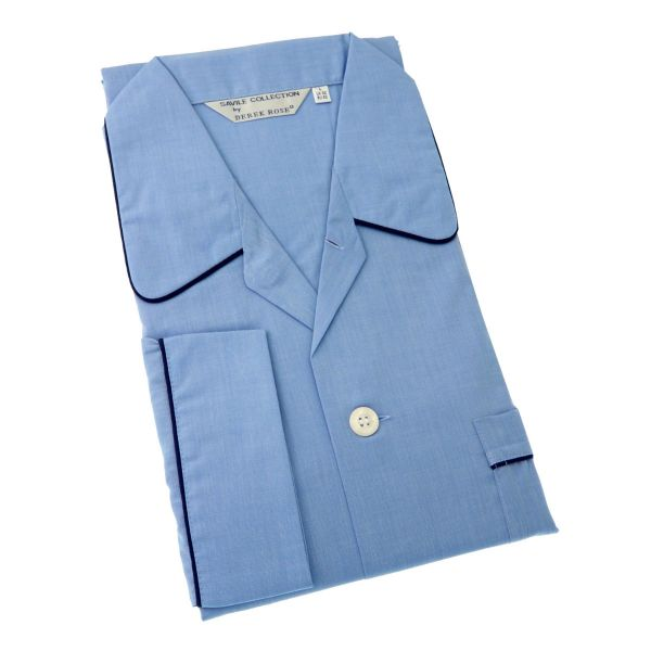 Derek Rose Mid Blue Cotton Pyjamas with Elastic Waist