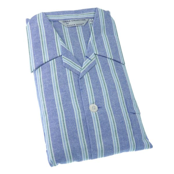 Derek Rose - Davos 70 - Mens Brushed Cotton Pyjamas with Elastic Waist in Mid Blue with Green Stripe