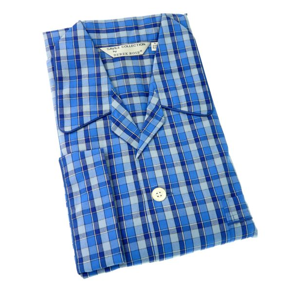 Derek Rose - Kansas 62 - Mens Blue Check Cotton Pyjamas - Elastic Waist