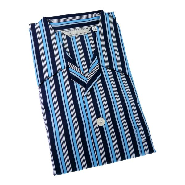 Derek Rose - Romeo - Navy and Blue Stripe Cotton Pyjamas - Elastic Waist