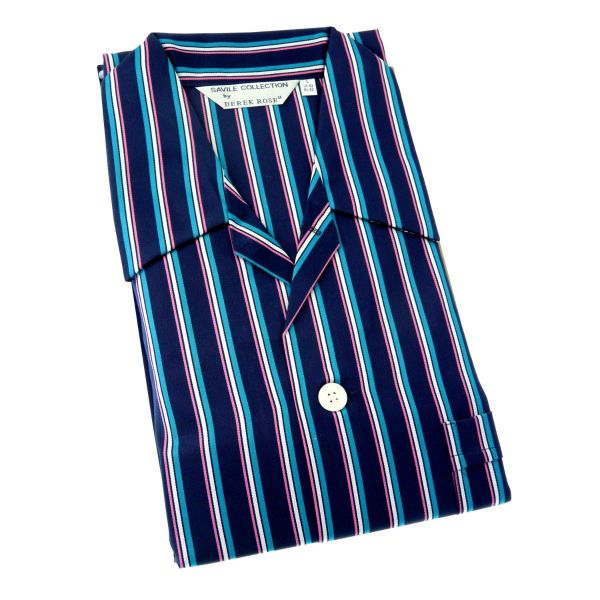 Derek Rose - Romeo - Navy with Pink White and Blue Stripes Pyjamas-Elastic Waist