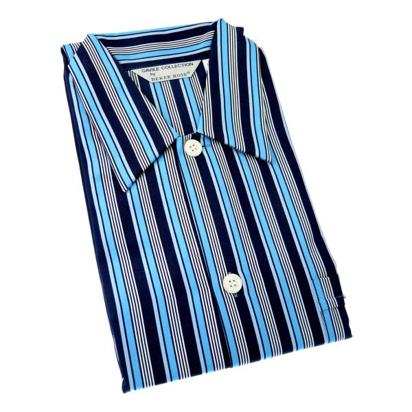 Derek Rose - Mens Open Front Cotton Nightshirt in Navy and Blue Stripe