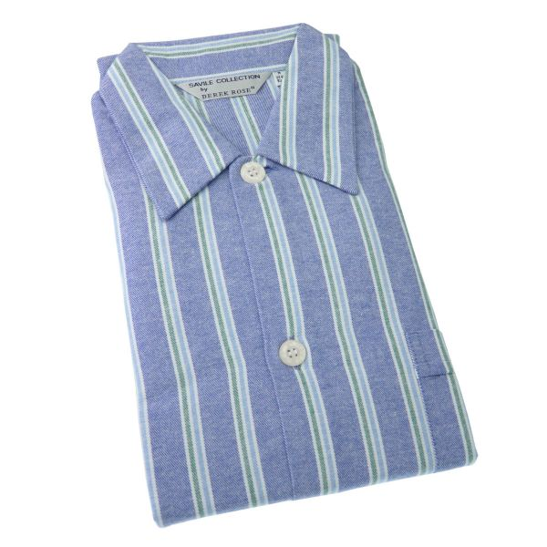 Derek Rose - Davos 70 - Mens Open Front Brushed Cotton Nightshirt in Mid Blue with Green Stripe