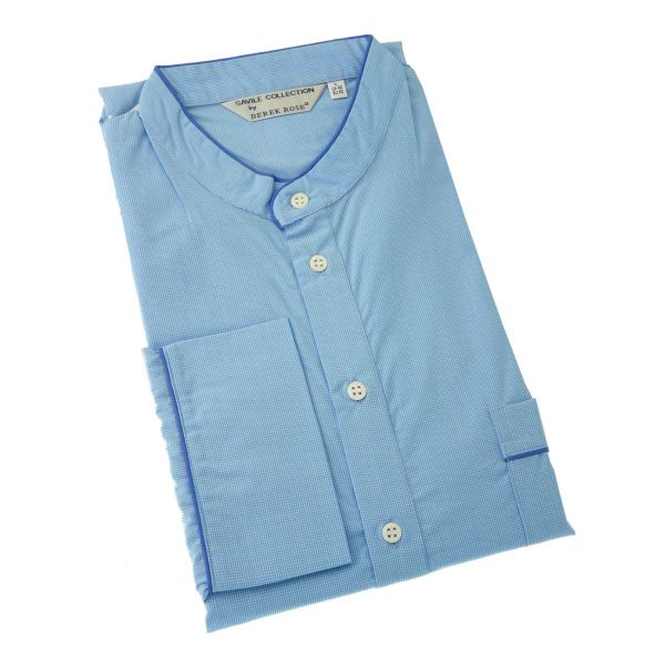 Derek Rose - Mens Over the Head Nightshirt in Tiny Blue Check