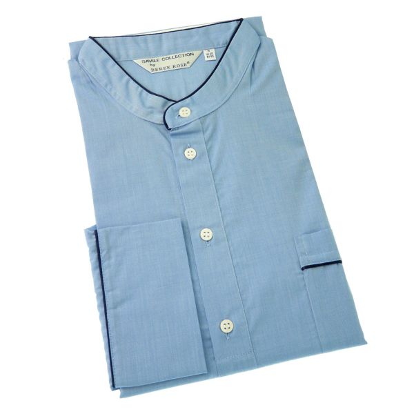 Derek Rose - Belmont 91 - Mens Overhead Cotton Nightshirt in Light Blue
