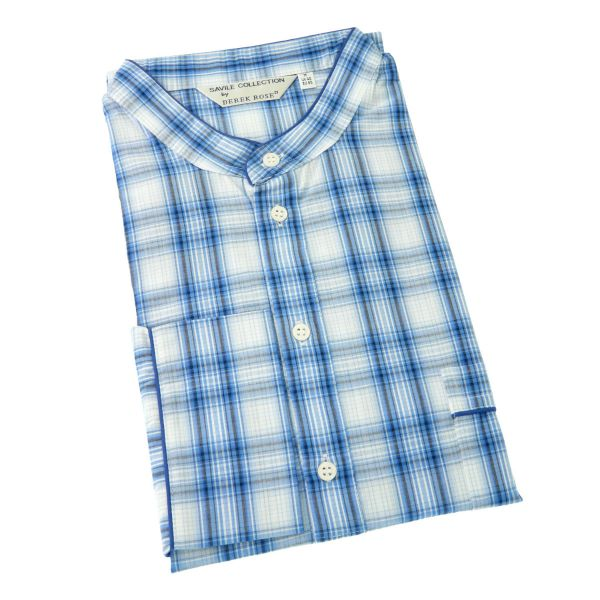 Derek Rose - Kansas 63 - Mens Overhead Cotton Nightshirt - Blue Country Check
