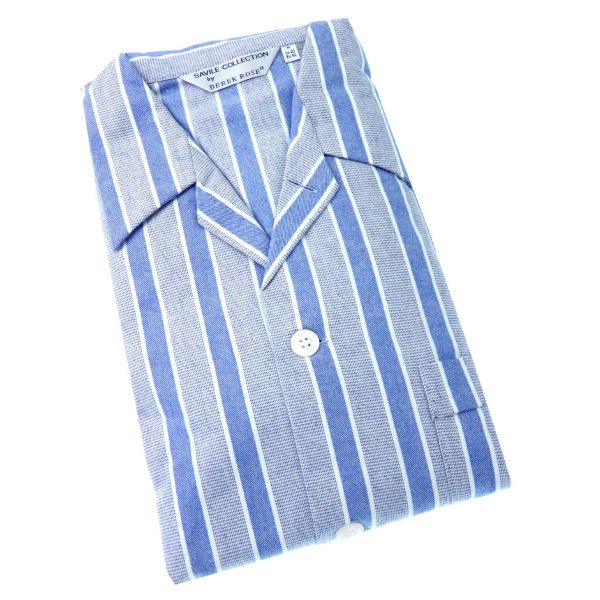 Derek Rose ARCTIC - Blue and White Stripe Cotton Twill Elastic Waist Pyjamas