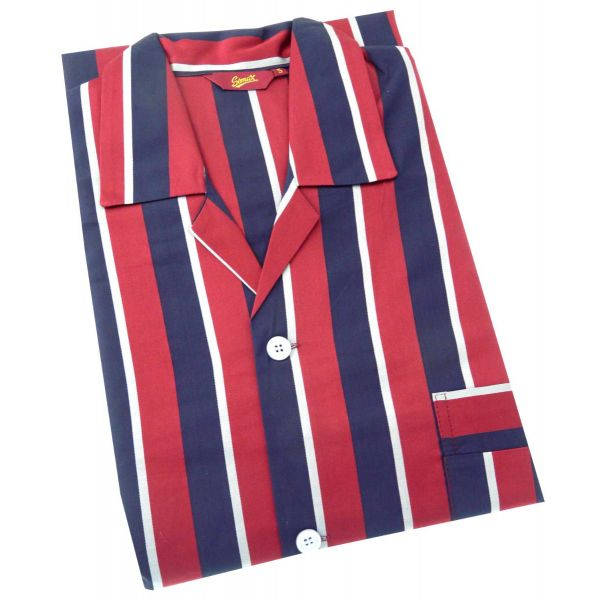 Navy and Wine Regimental Stripe Cotton Pyjamas with Elastic Waist from Somax
