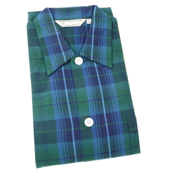 Derek Rose - Green Check Open Front Nightshirt in Brushed Cotton