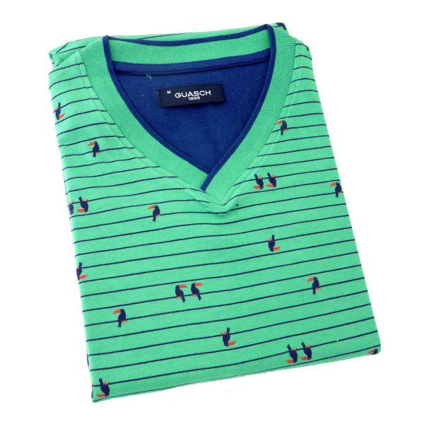Guasch - Mens  Short Pyjamas with V Neck Jersey Top