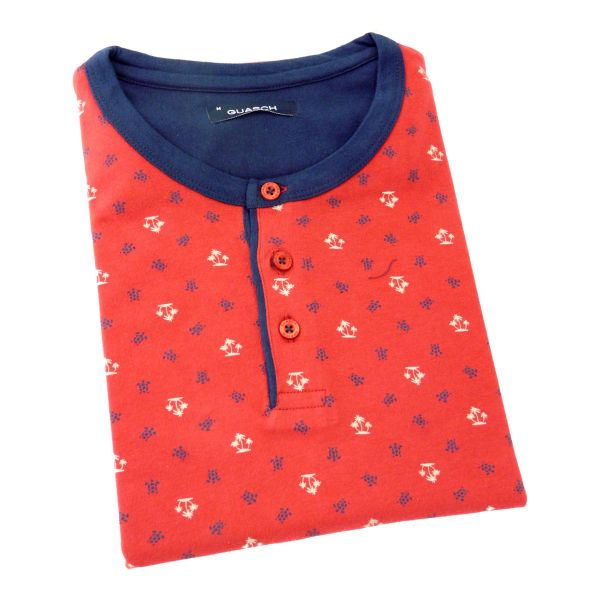 Guasch - Mens Shortie Pyjamas with Button Round Neck T-Shirt Top