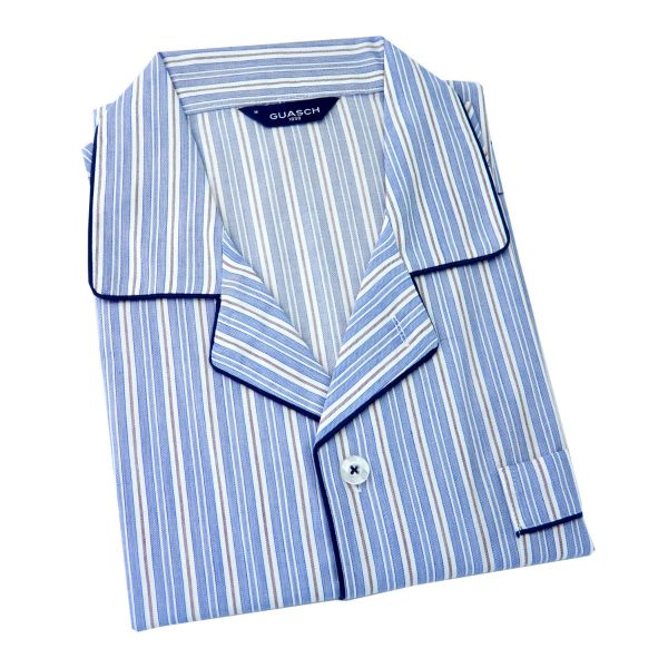 Guasch - Mens Cotton Pyjamas in Sky Blue and White Stripe - Elastic Waist