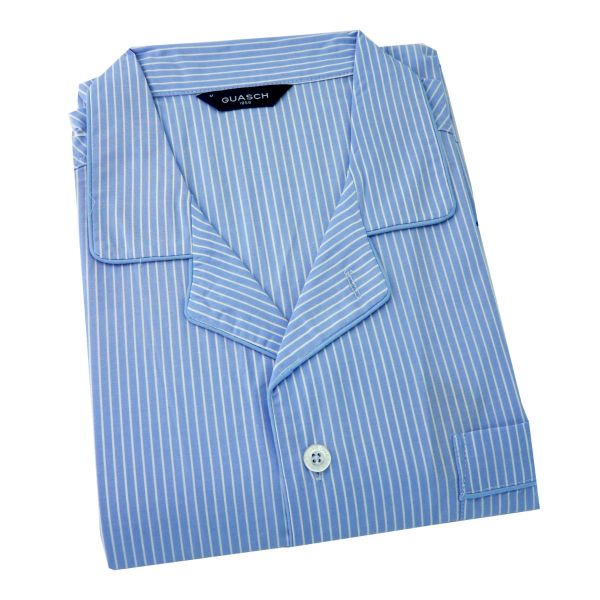Guasch - Mens Cotton Pyjamas in Sky with White Pinstripe - Elastic Waist