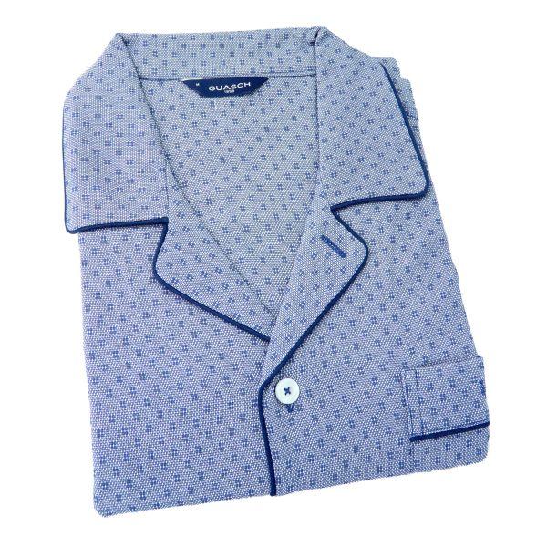 Guasch - Mens Cotton Pyjamas in Blue with Neat Design - Elastic Waist