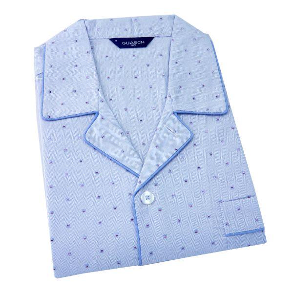 Guasch - Mens Cotton Shortie Pyjamas - in Light Blue with Small Shield Design