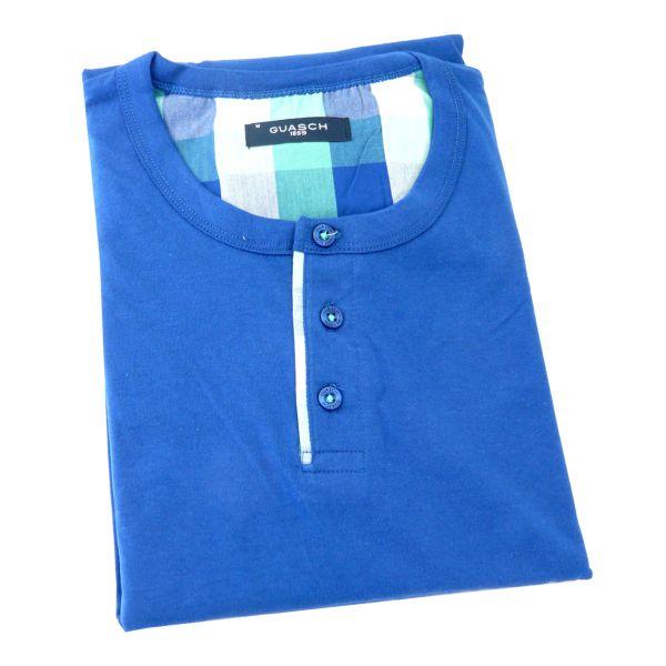 Guasch - Mens Cotton Shortie Pyjamas - Blue Check - T-Shirt Top - Guasch