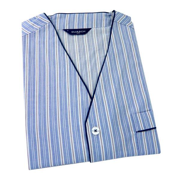 Guasch - Mens Cotton Shortie Pyjamas - Blue Stripe V Neck - Guasch