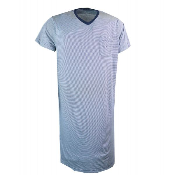 Mens Short Sleeve Jersey Nightshirt in Navy and White Fine Stripe from Jockey