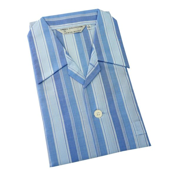 Derek Rose - Amalfi - Blue Stripe Lightweight Cotton Pyjamas - Tie Waist