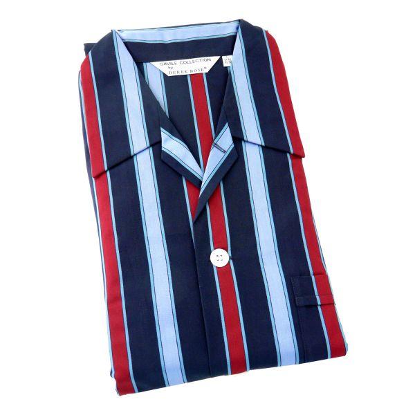 Derek Rose - Romeo 81 - Navy Wine and Blue Stripe Cotton Pyjamas - Tie Waist