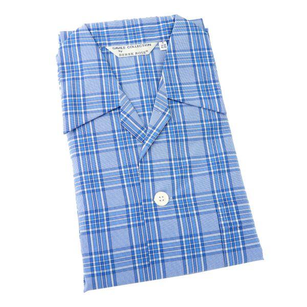 Derek Rose - Barker 16 - Blue Plaid Cotton Pyjamas - Tie Waist