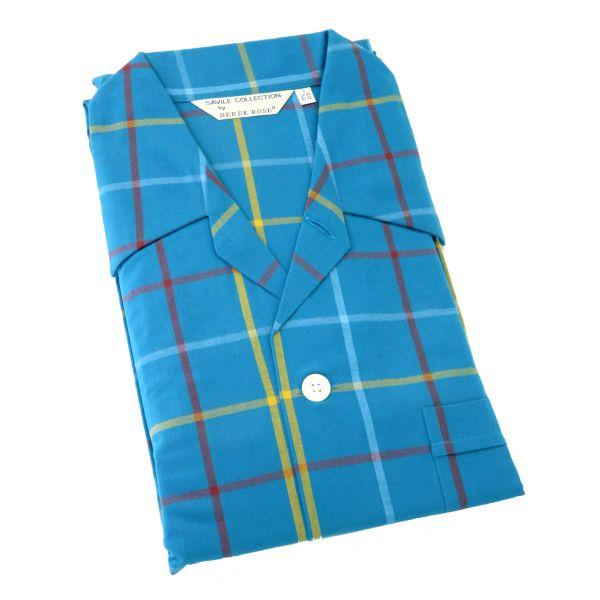 Derek Rose - Ranga 37 - Mens Brushed Cotton Pyjamas in Blue Window Check - Tie Waist