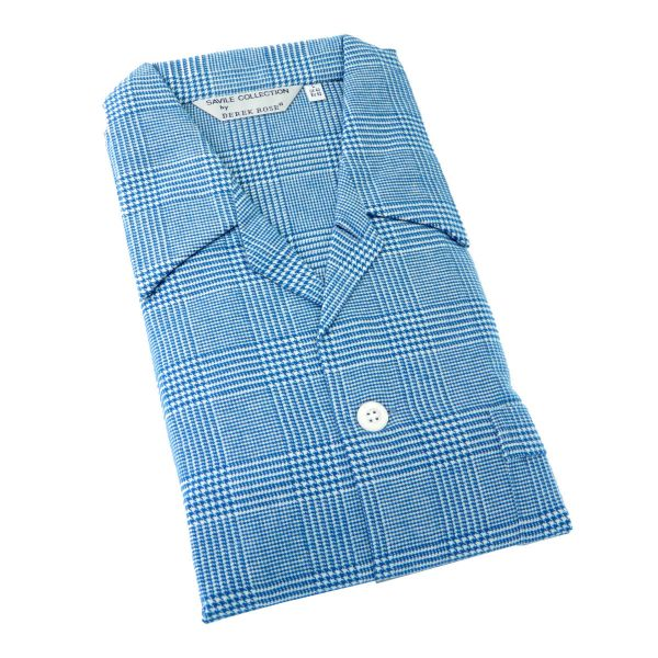 Derek Rose - Kelburn 6 - Mens Brushed Cotton Pyjamas in Ocean Blue Check - Tie Waist