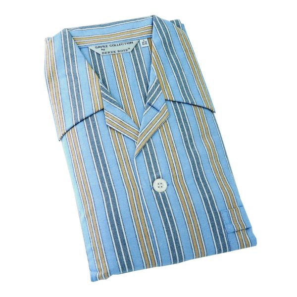 Derek Rose - Arctic 18 - Mens Brushed Cotton Pyjamas in Blue and Orange Stripe - Tie Waist