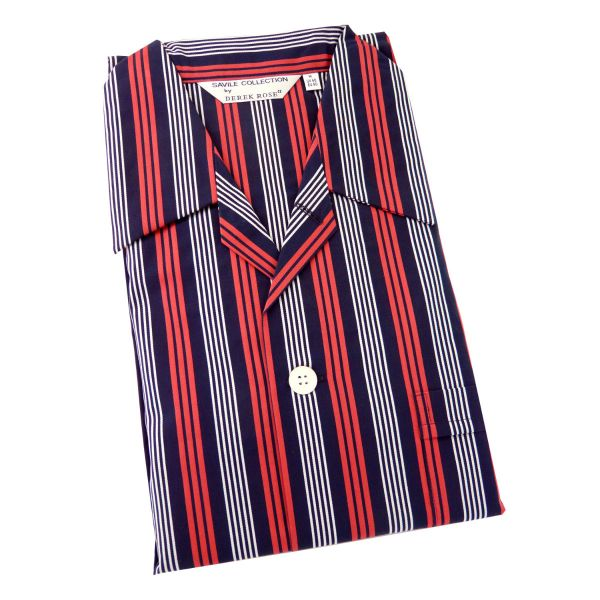 Derek Rose - Royal 213 - Mens Cotton Pyjamas in Navy and Red Satin Stripe - Elastic Waist