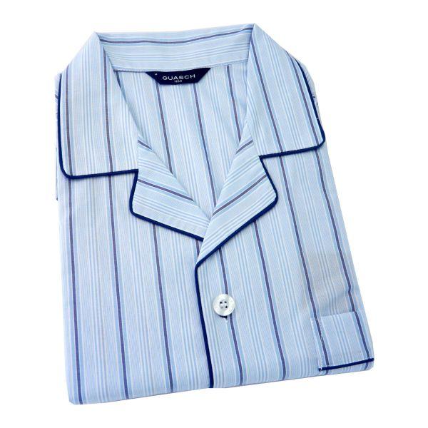 Guasch - Mens Cotton Pyjamas - Light Blue with Navy Stripe - Elastic Waist