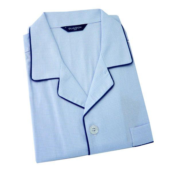 Guasch - Mens Cotton Pyjamas - Blue Prince of Wales Check - Elastic Waist