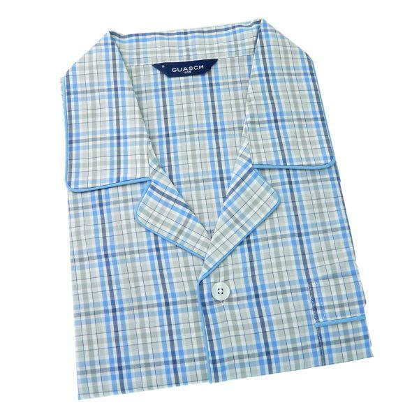 Guasch - Mens Cotton Pyjamas - Grey and Blue Check - Elastic Waist
