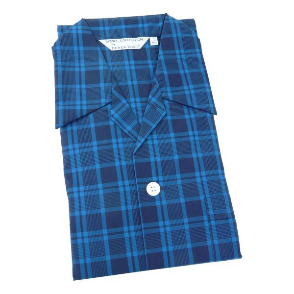 Derek Rose - Barker 24 - Mens Cotton Pyjamas in Teal and Navy Check - Tie Waist