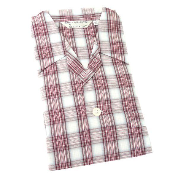 Derek Rose - Ranga 34 - Mens Cotton Pyjamas in Blush Check - Tie Waist