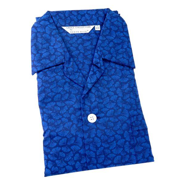 Derek Rose - Paris 14 - Mens Cotton Pyjamas in Navy with Blue Leaf Design - Elastic Waist