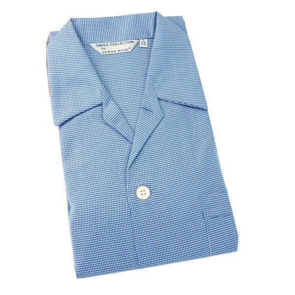 Derek Rose - Barker 19 - Mens Cotton Pyjamas in Minature Blue Check - Elastic Waist