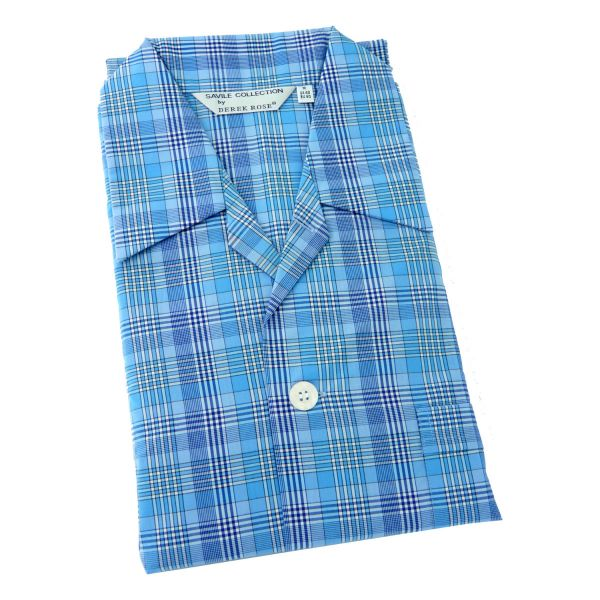 Derek Rose - Barker 20 - Mens Cotton Pyjamas in Bright Blue Plaid - Elastic Waist