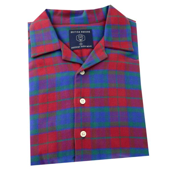 British Boxers - Mens Brushed Cotton Overhead Nightshirt - Bordeaux Check