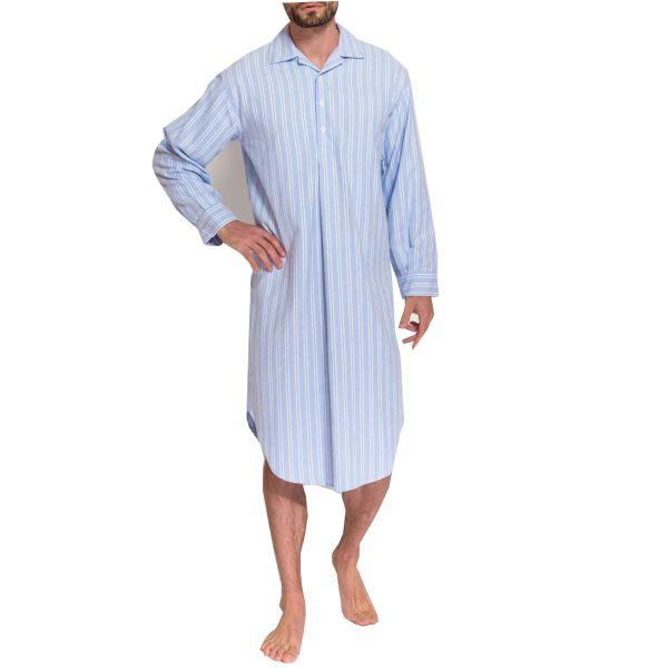 British Boxers - Mens Brushed Cotton Overhead Nightshirt - Westwood Stripe