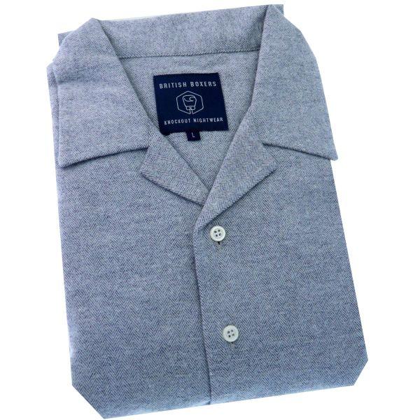 British Boxers - Mens Brushed Cotton Overhead Nightshirt - Ash Grey Herringbone