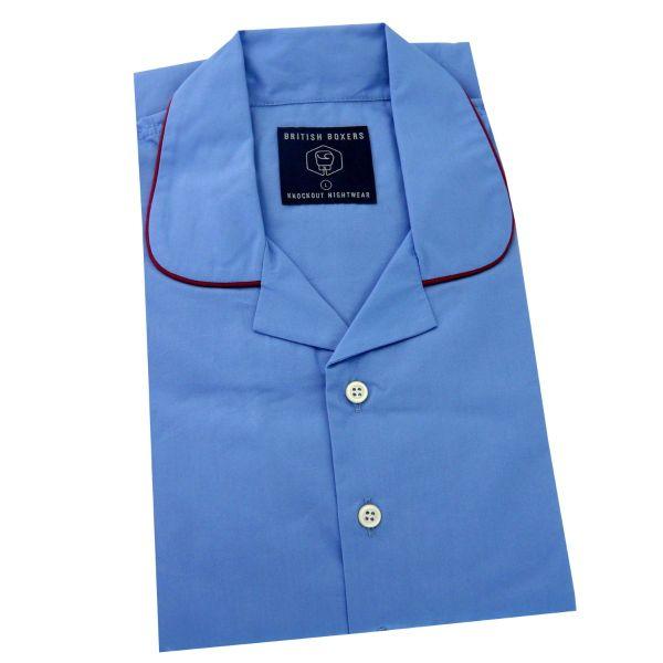 British Boxers - Mens Cotton Overhead Nightshirt - Contemporary Blue