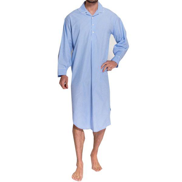 British Boxers - Mens Cotton Overhead Nightshirt - Blue and White Stripe